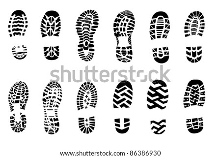 Ilustration of shoe print - stock photo
