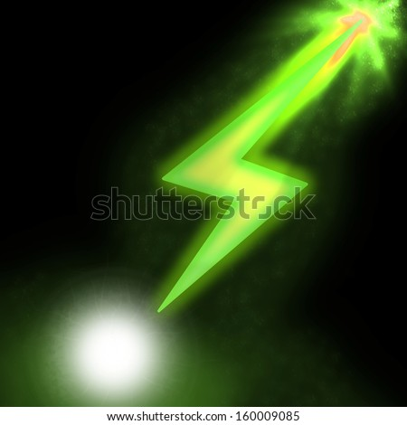 Ilustration of sparkling lightning green bolt with electric effect - stock photo