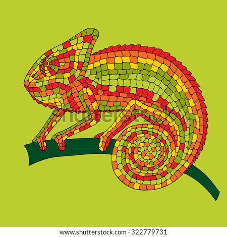 Image abstract multicolored mosaic chameleon, reptiles, iguanas, lizards, drawn by hand, pencil, pen. Chameleon sitting on a branch. - stock photo