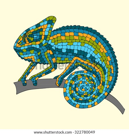 Image abstract multicolored mosaic chameleon, reptiles, iguanas, lizards, drawn by hand, pencil, pen. Chameleon sitting on a branch - stock photo