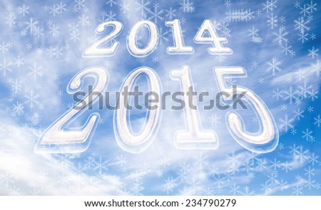 image 2014 - 2015 against cloudy blue sky - stock photo