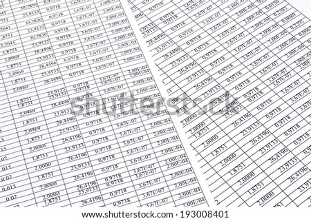 Image Background of the numbers on sheets  paper - stock photo