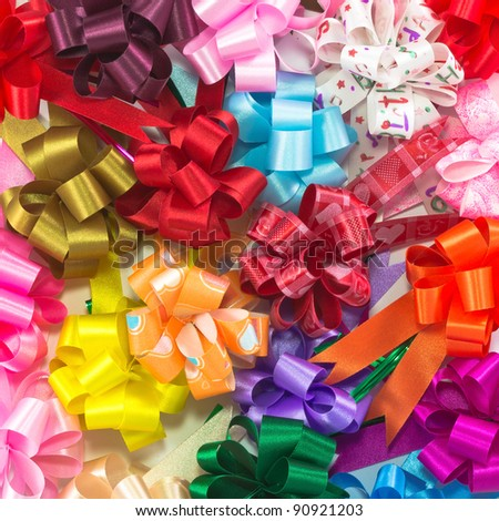 image background with many color bow - stock photo
