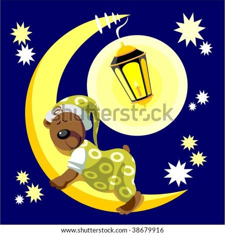Image. Bear sleep on moon color 17. More Cartoons see in portfolio - stock photo