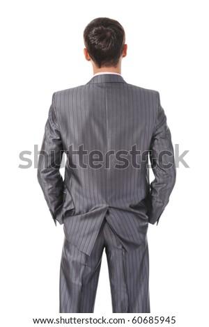 Image businessman behind. Isolated on white background - stock photo