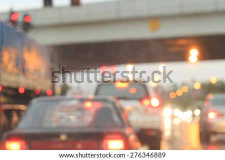Image city road and traffic jam blurred. - stock photo