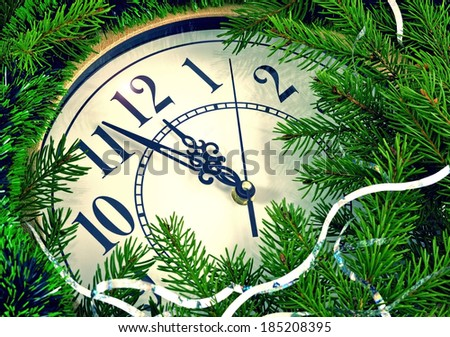 Image clock with Christmas and New Year decorations/Clock and New Year decorations  - stock photo
