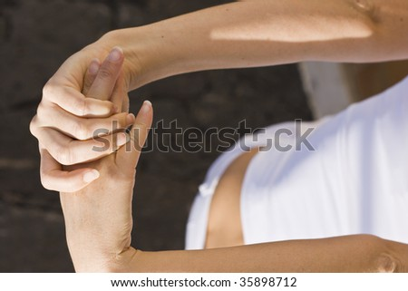 Image close-up detail shot of the Yoga hand position. - stock photo