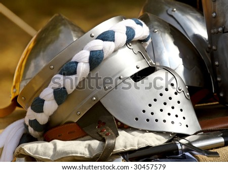 image close up of ancient metal helmet background - stock photo