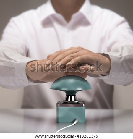 Image compositing between photography and 3D buzzer. Man with two hands about to press the button for answering a quiz question.  - stock photo