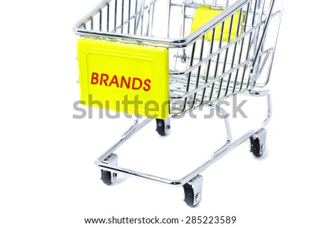 image concept cropped trolley with word brands isolated white background - stock photo