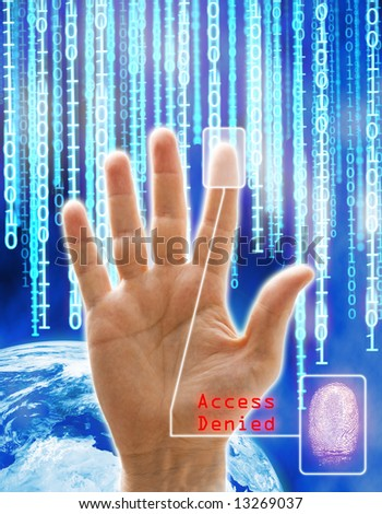 Image concept of security and technology. All the images are computering generated except the hand that is a physical photography. - stock photo