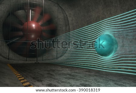 Image concept of the aerodynamic drag coefficient of a sphere. Image with depth of field with focus on the sphere. - stock photo