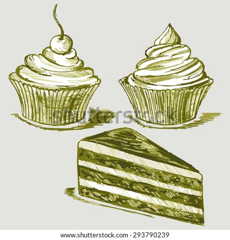 Image confectionery. Cake and Cupcakes. Raster version
