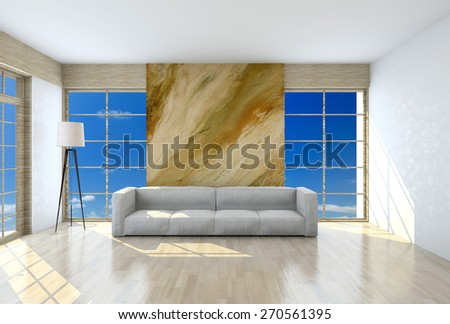 Image couch in the room (3d) - stock photo