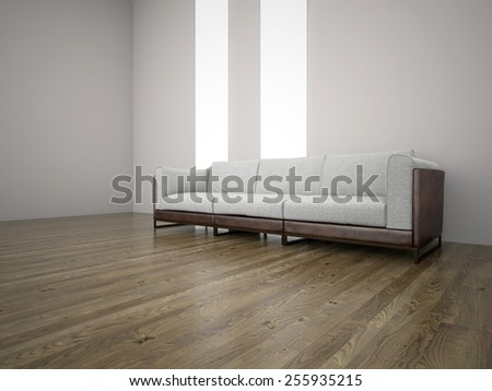 Image couch in the room 3D rendering - stock photo