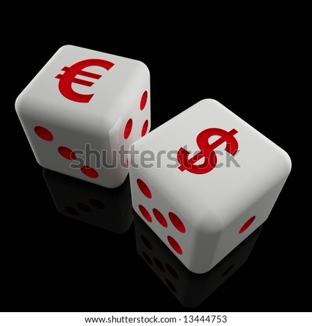 image 3d of dice with dollar and euro sign 01 - stock photo