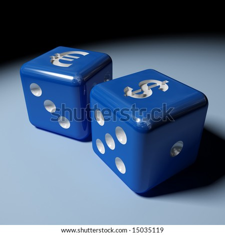 image 3d of dice with dollar and euro sign - stock photo
