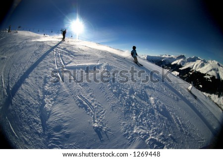 Image dealing with skiing/wintersport related theme in the Swiss alps near Davos. - stock photo