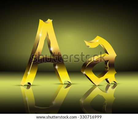Image design. Golden letter A in vintage style.  - stock photo