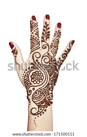 Image detail of henna being applied to hand isolated over whit  - stock photo