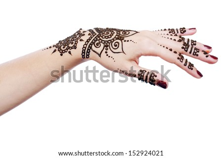 Image detail of henna being applied to hand isolated over white - stock photo