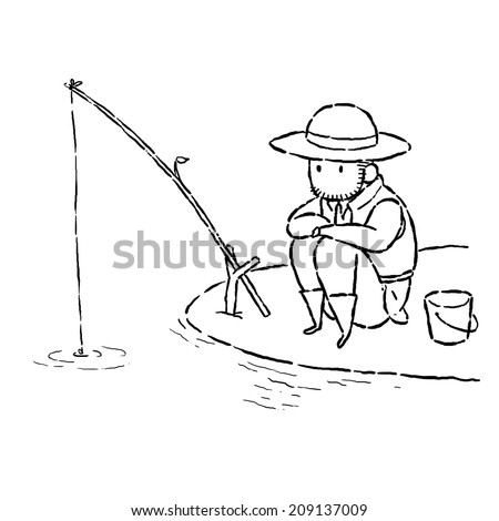 image drawing cartoon style of man fishing - stock photo