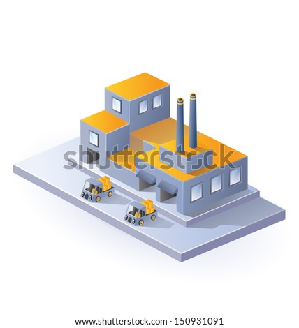 Image factory in isometric projection on a white background - stock photo