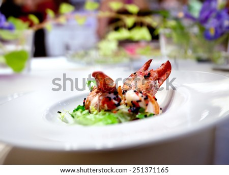 Image festive dinner plate or lobster lunch in restaurant floral arrangement. Modern food. - stock photo