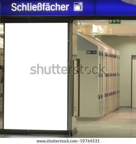 Image for advertisers to place ad copy samples on a station of safe deposit box room in airport orr rail station - stock photo