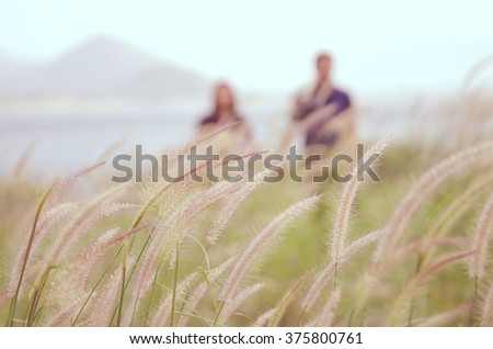 Image for background, soft focus grass and blrred couple standing on the grass, retro filter. - stock photo