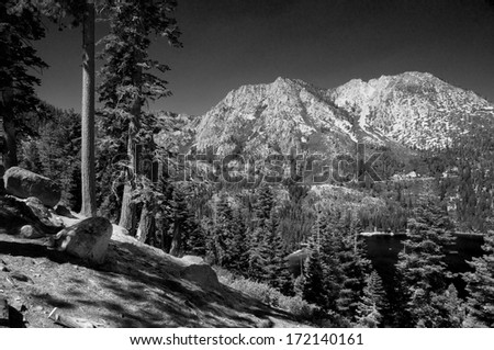 Image from a ridge overlooking Lake Tahoe and Emerald Bay - stock photo