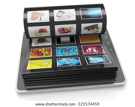 Image Gallery of the Tablet PC. Tablet PC sheets with images - stock photo