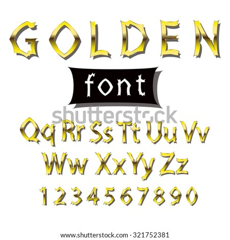 Image golden font. Collection of alphabet symbols and figures. - stock photo