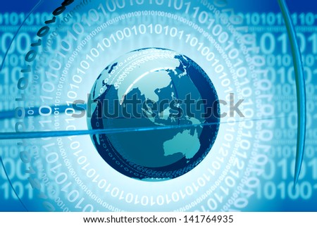 Image illustrating the concept of digital world. Binary code revolving around the globe. Represents technology, internet and programming. - stock photo