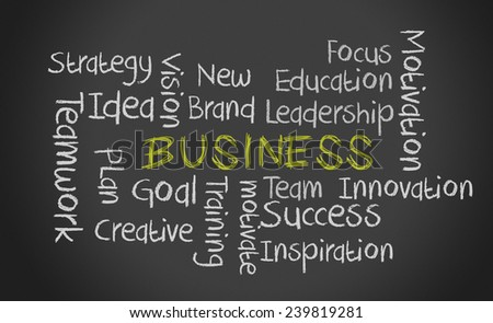 image illustration of chalk keywords on black chalkboard about business concept.