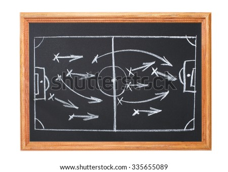 Image in white chalk on a blackboard - playbook - stock photo