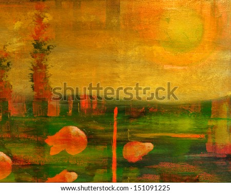 Image is of an original SurreaL Oil painting on Canvas - stock photo