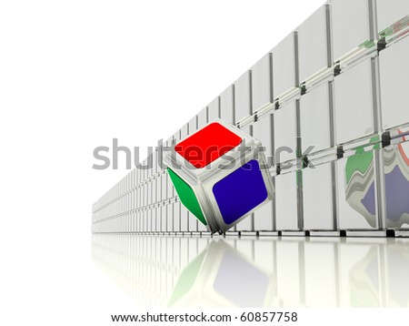 image is shown as a multicolored cube moves along the endless wall, consisting of mirrored cubes - stock photo
