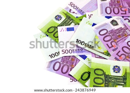 Image isolated euro money on white background - stock photo