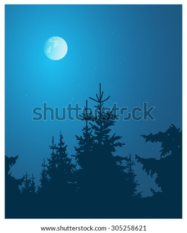 Image landscape. Silhouette of coniferous trees on the background of night sky and full moon. - stock photo