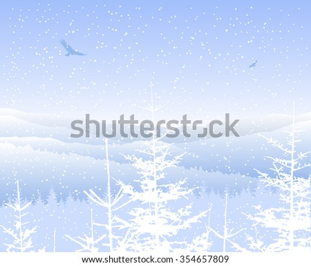 Image landscape. Silhouette of mountains and coniferous trees. Blue shades. Winter. Cold.