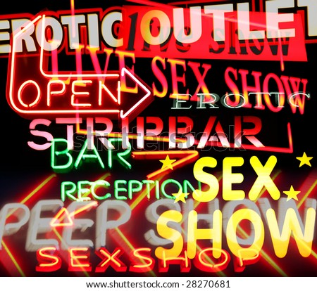 image made from signs and symbols taken in amsterdam's red light district - stock photo