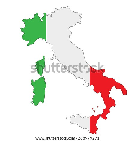 image map of Italy painted in the colors of the national flag - stock photo