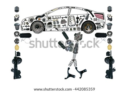 Image mechanic working under the car on the service. Smith machine repairs. Auto spare parts items in car. New original equipment spare parts make car. Many auto spare parts service. OEM spare parts - stock photo