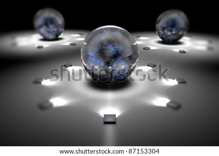 Image molecules and atoms - stock photo