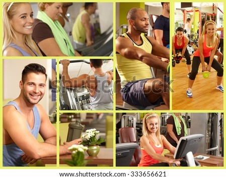 Image mosaic of fitness club, healthy lifestyle, workout, training.