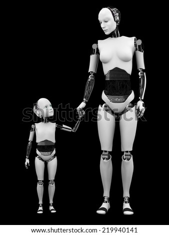 Image number two of robot woman holding hand with her robot child. Black background.