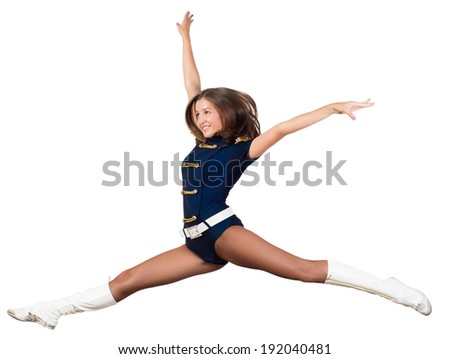 image of a athletic young woman jumping, isolated on white background