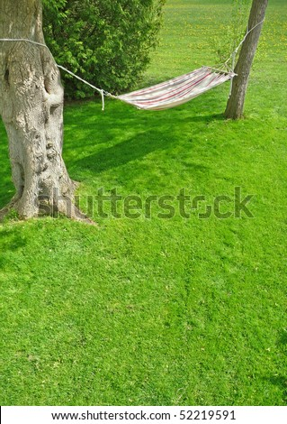 Image of a backyard hammock on a sunny spring day - stock photo